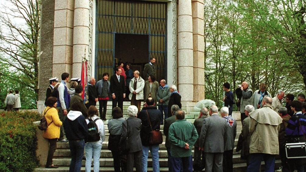 Tour group in Dachau Memorial