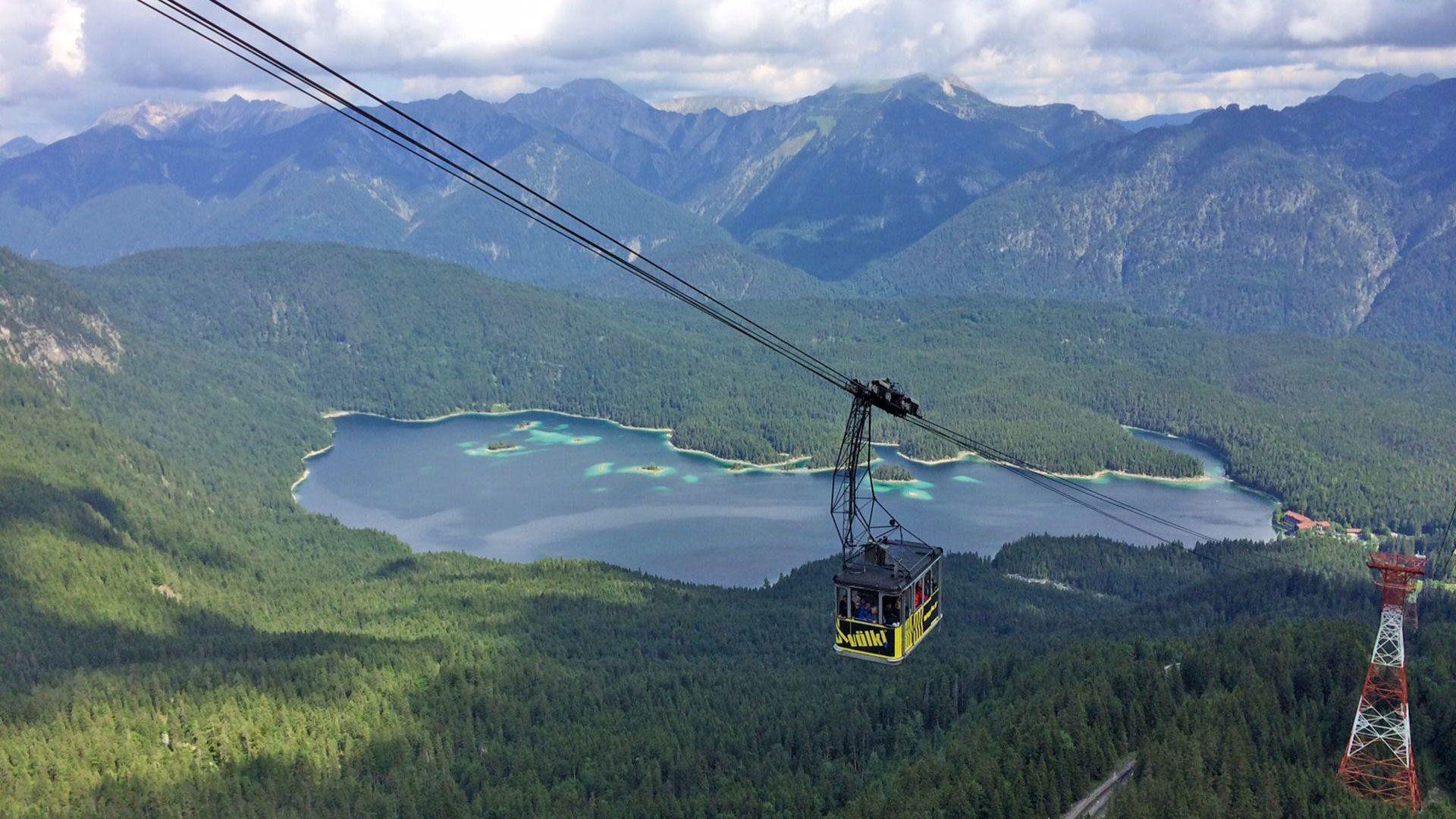 Gondola overlooking the alps in Germany
