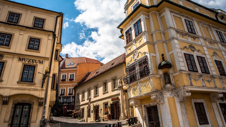 Beautiful yellow building in Bratislava