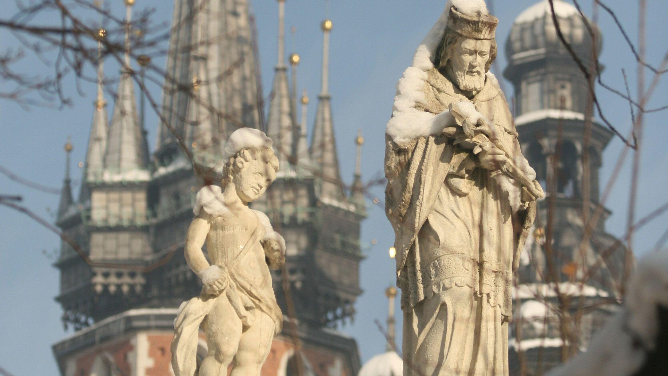 Statues found in Kraków, Poland