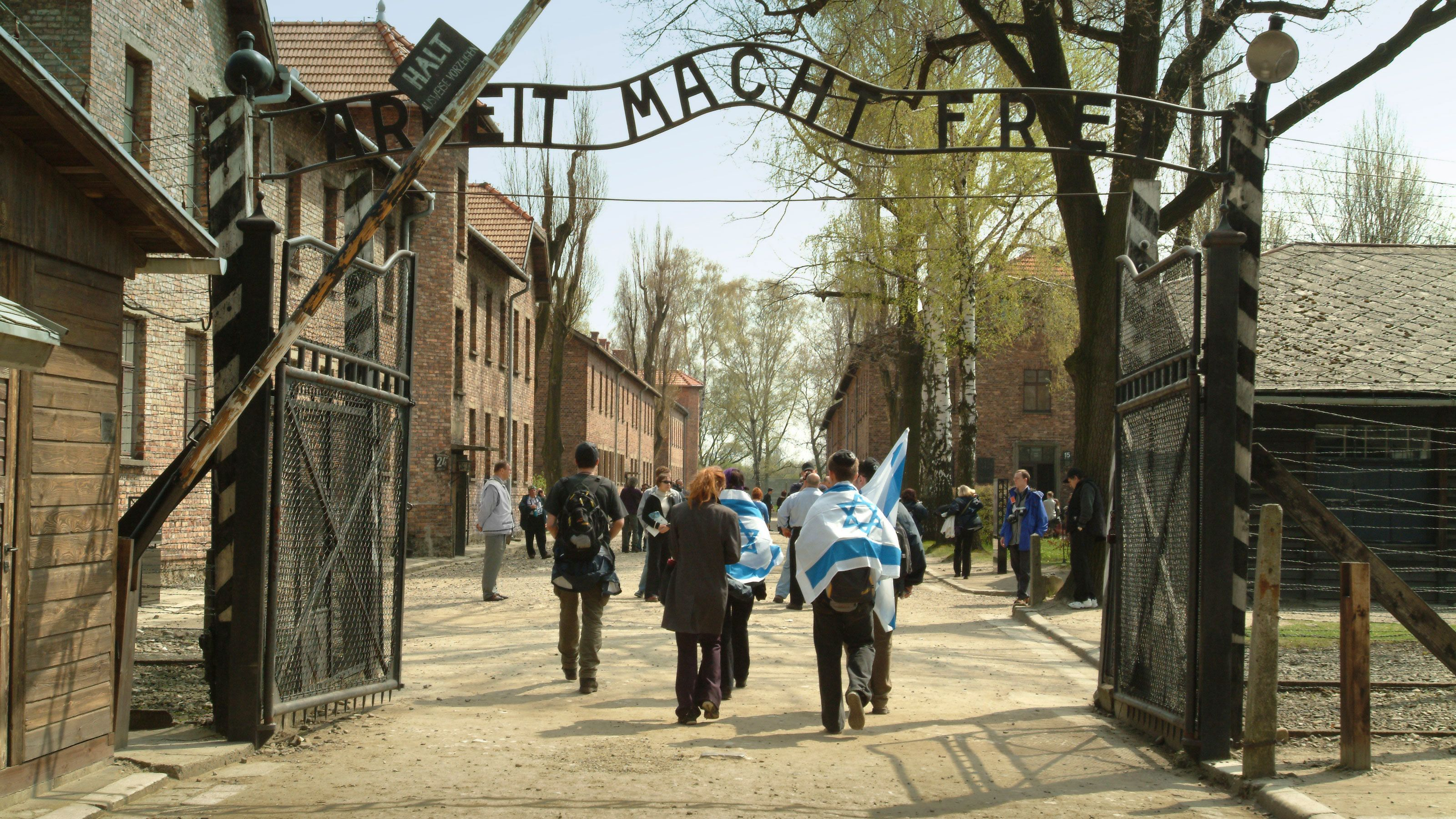 Tourists at the Auschwitz-Birkenau Concentration Camp in Poland