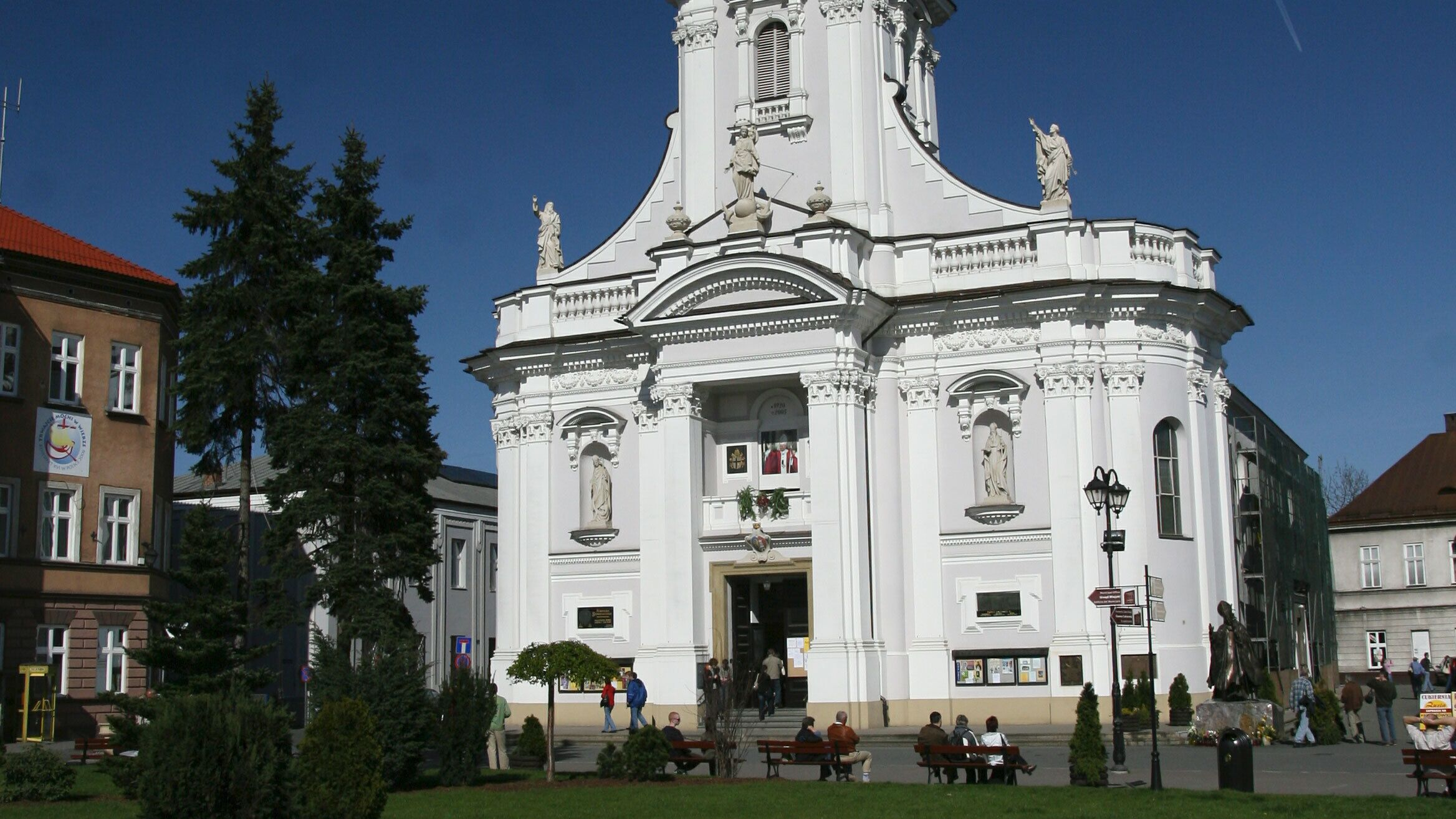 Close view of the Basilica of the Presentation of the Blessed Virgin Mary in Poland
