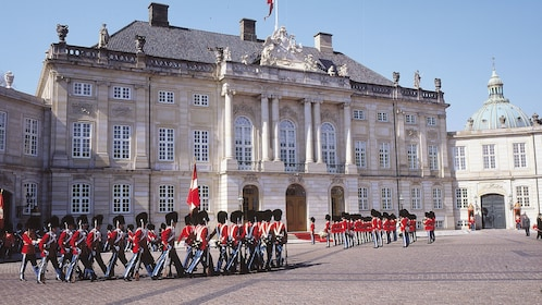 Guards marching at the capital of Denmark