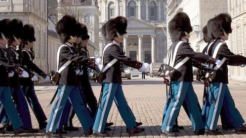 Guards marching on the street in Copenhagen