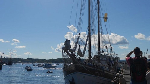 Large sail boat moored to pier in Oslo
