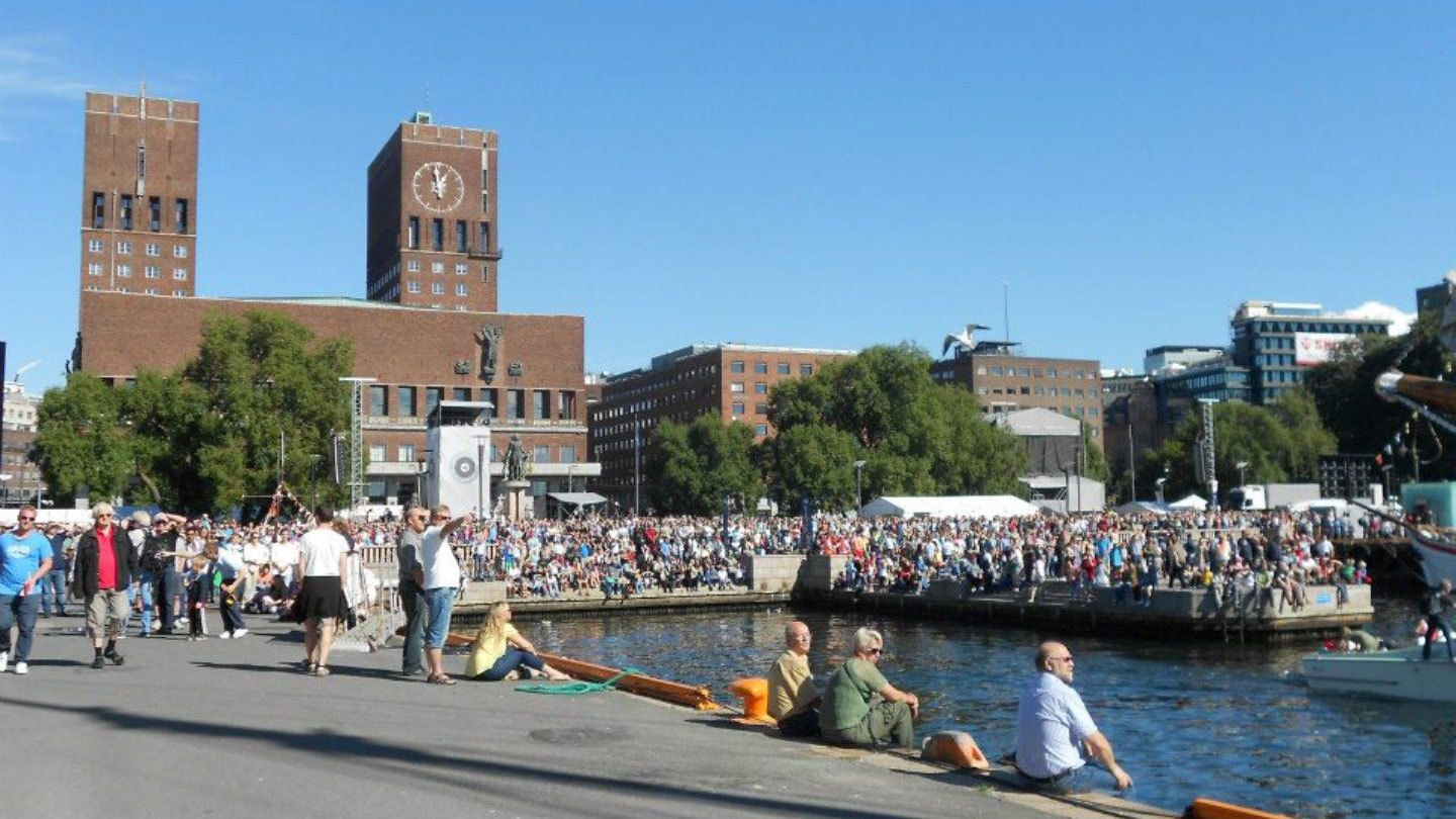 Crowds of people enjoying the view of the Inner Oslo Fjord