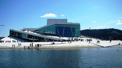 View from the water of a building in Norway