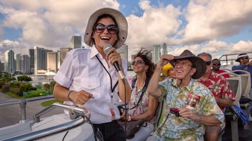 Top deck bus passengers enjoying the breeze in Miami