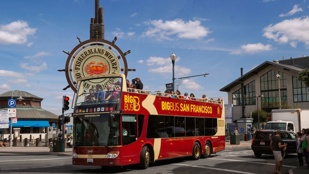 Sightseeing bus at Fishermans Wharf in San Francisco