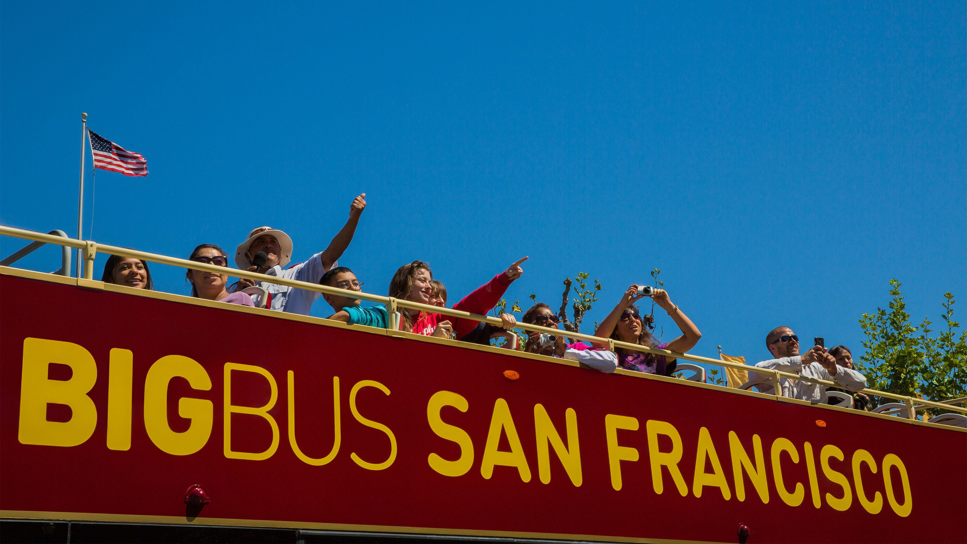 Tour group on sightseeing bus in San Francisco