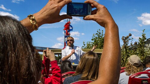 Sightseeing bus tour guide with microphone in San Francisco