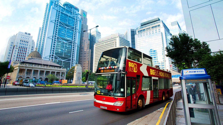 Aboard the double decker bus in Hong Kong