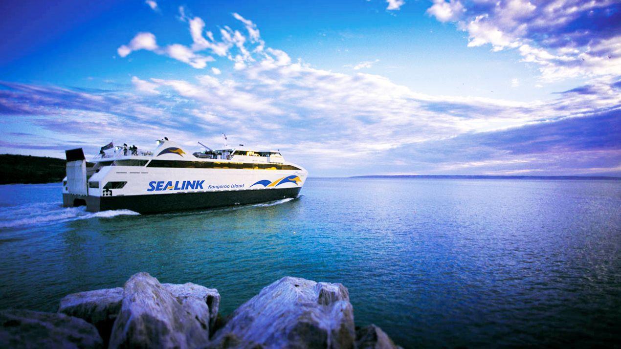 A cruise ship sailing towards Kangaroo island