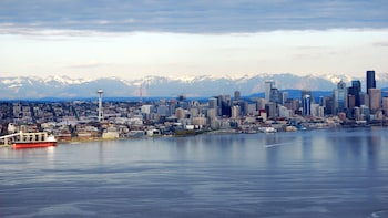 Show item 6 of 6. Aerial of downtown from the seaplane over Seattle Harbor