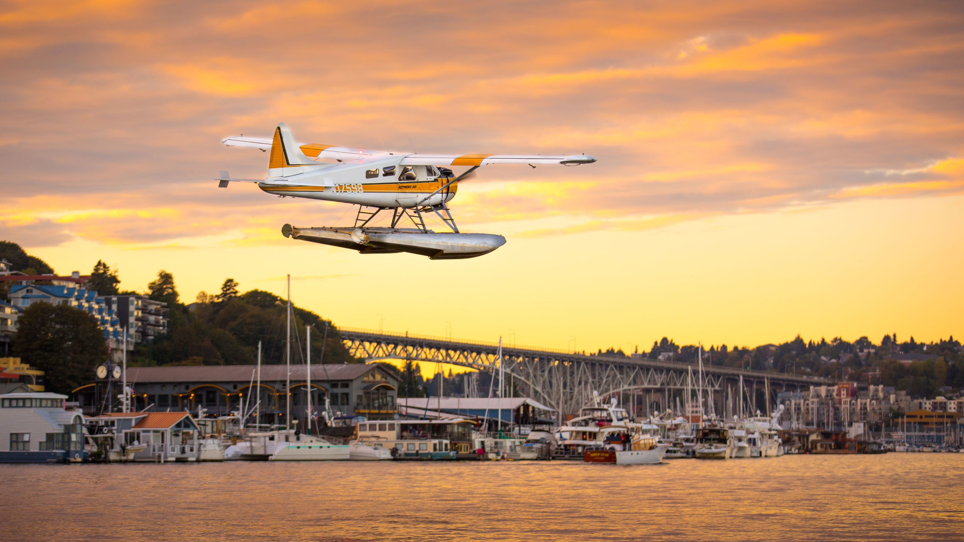 Seaplane preparing to land on the Harbor in Seattle