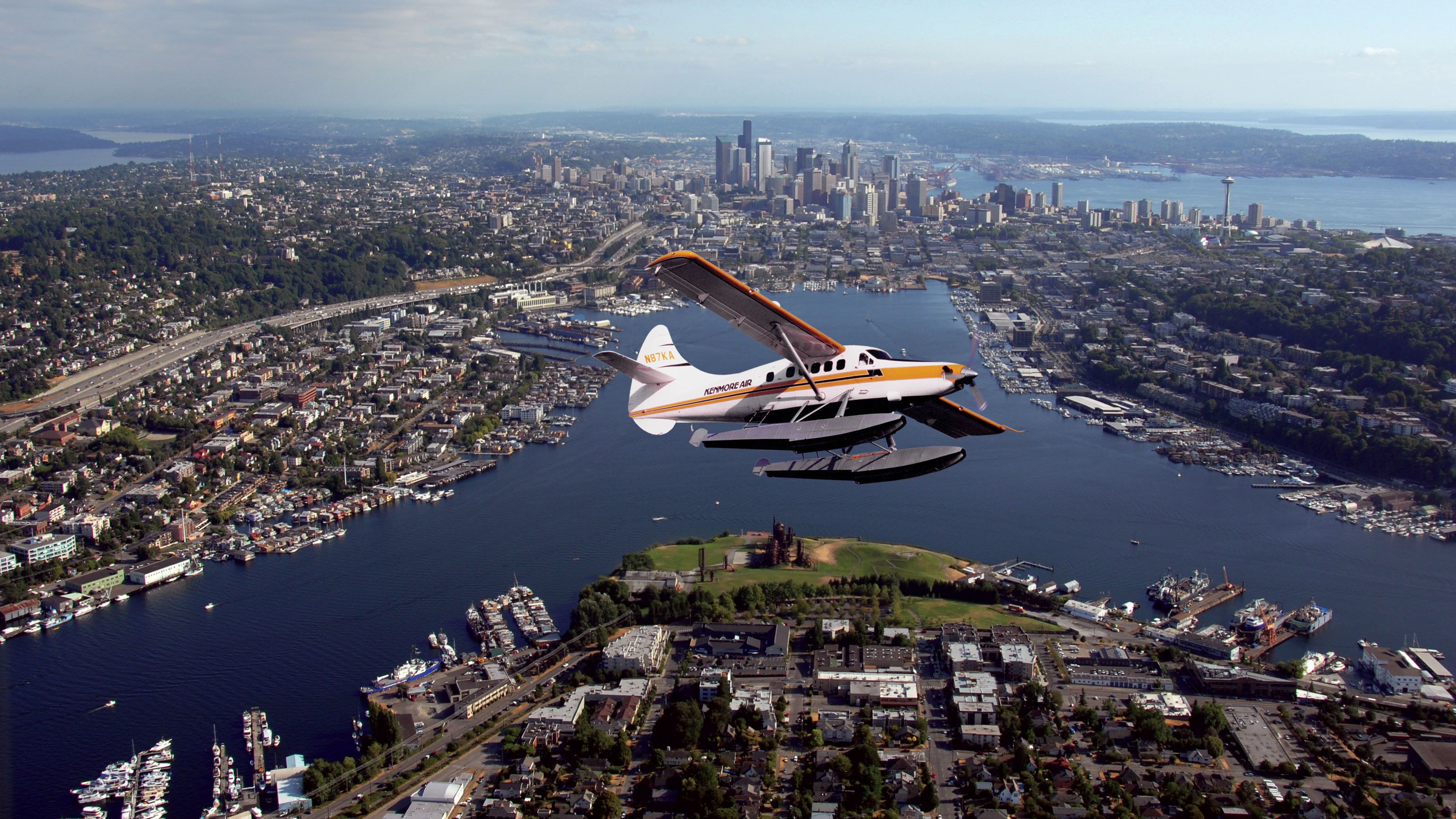 Aerial of Seaplane flying over Seattle