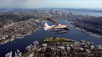 Show item 2 of 6. Aerial of Seaplane flying over Seattle