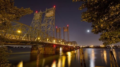 Bridge at night in downtown Portland