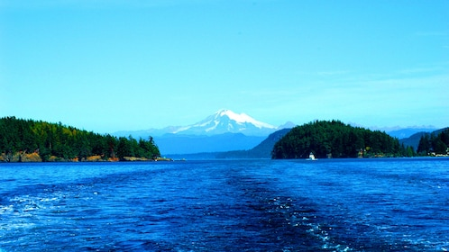 View of a whale watching boat's wake in front of Mount Baker and the San Juan Islands