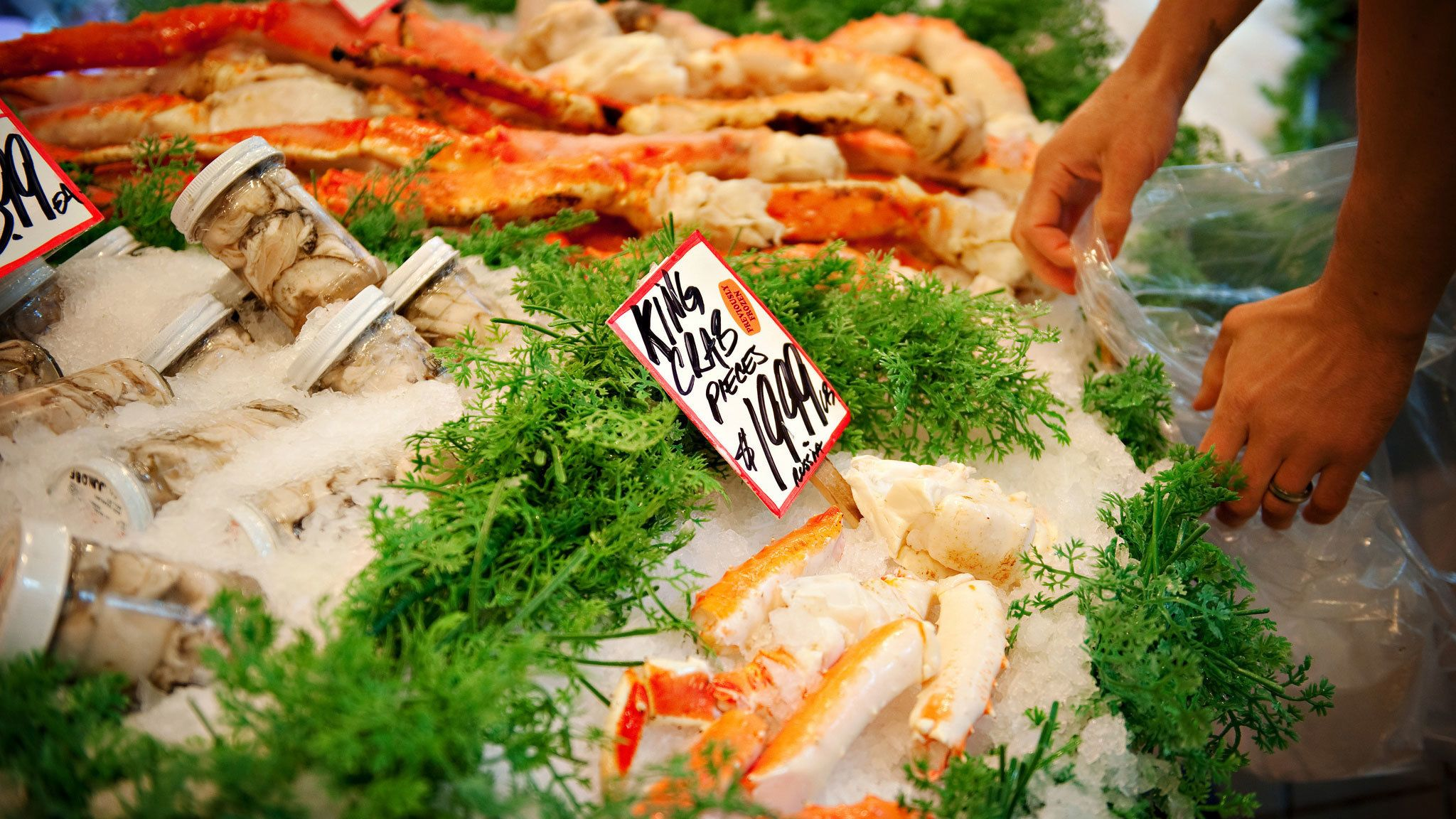 Sea food for sale at Pike Place Market in Seattle