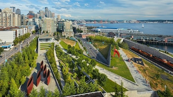 Show item 2 of 5. Aerial of gardens from Seattle Art Museum
