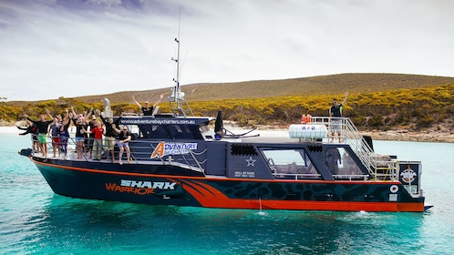 Dive boat with divers and crew anchored off Port Lincoln Australia
