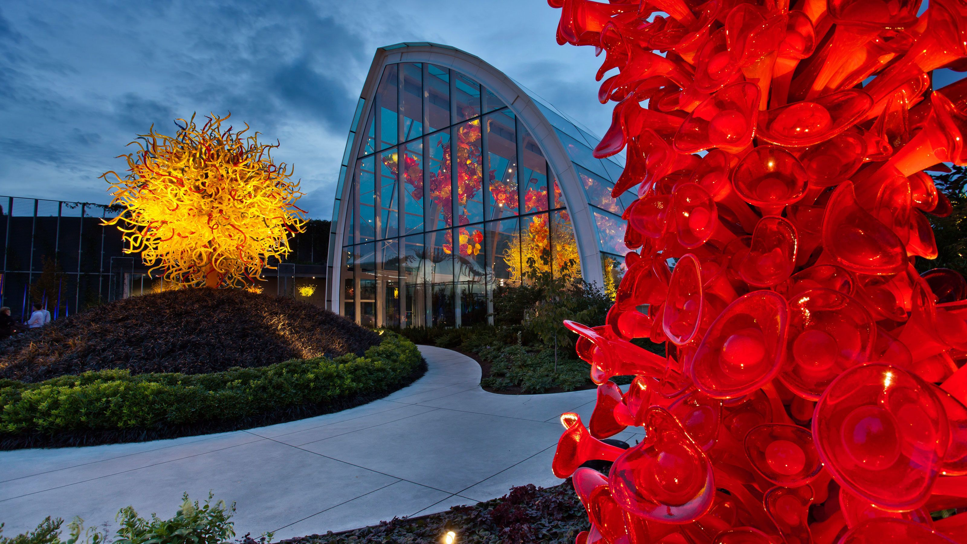Vibrant glass sculpture at the Chihuly Garden and Glass in Seattle