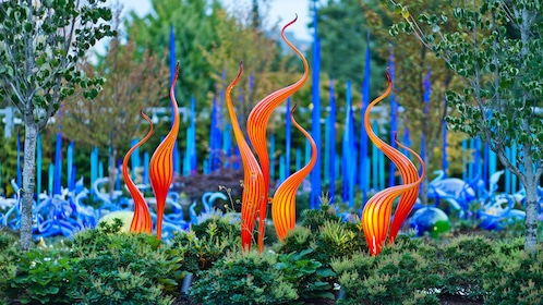 Brightly colored glass sculpture in the garden at the Chihuly Garden and Glass in Seattle