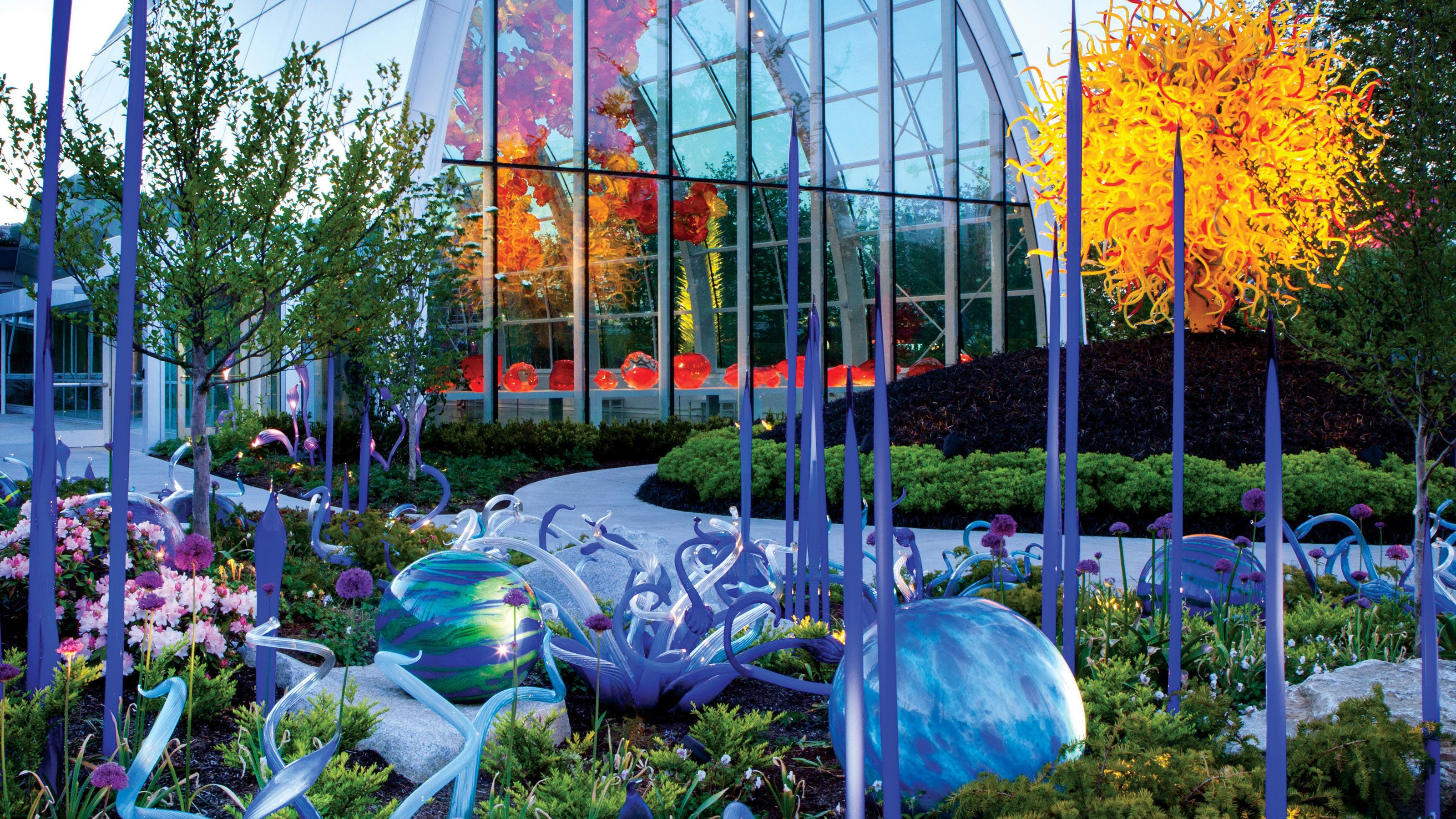 Glass sculptures in the garden at the Chihuly Garden and Glass in Seattle