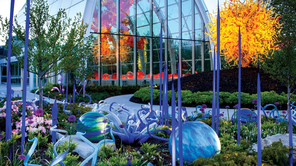 Show item 1 of 9. Glass sculptures in the garden at the Chihuly Garden and Glass in Seattle