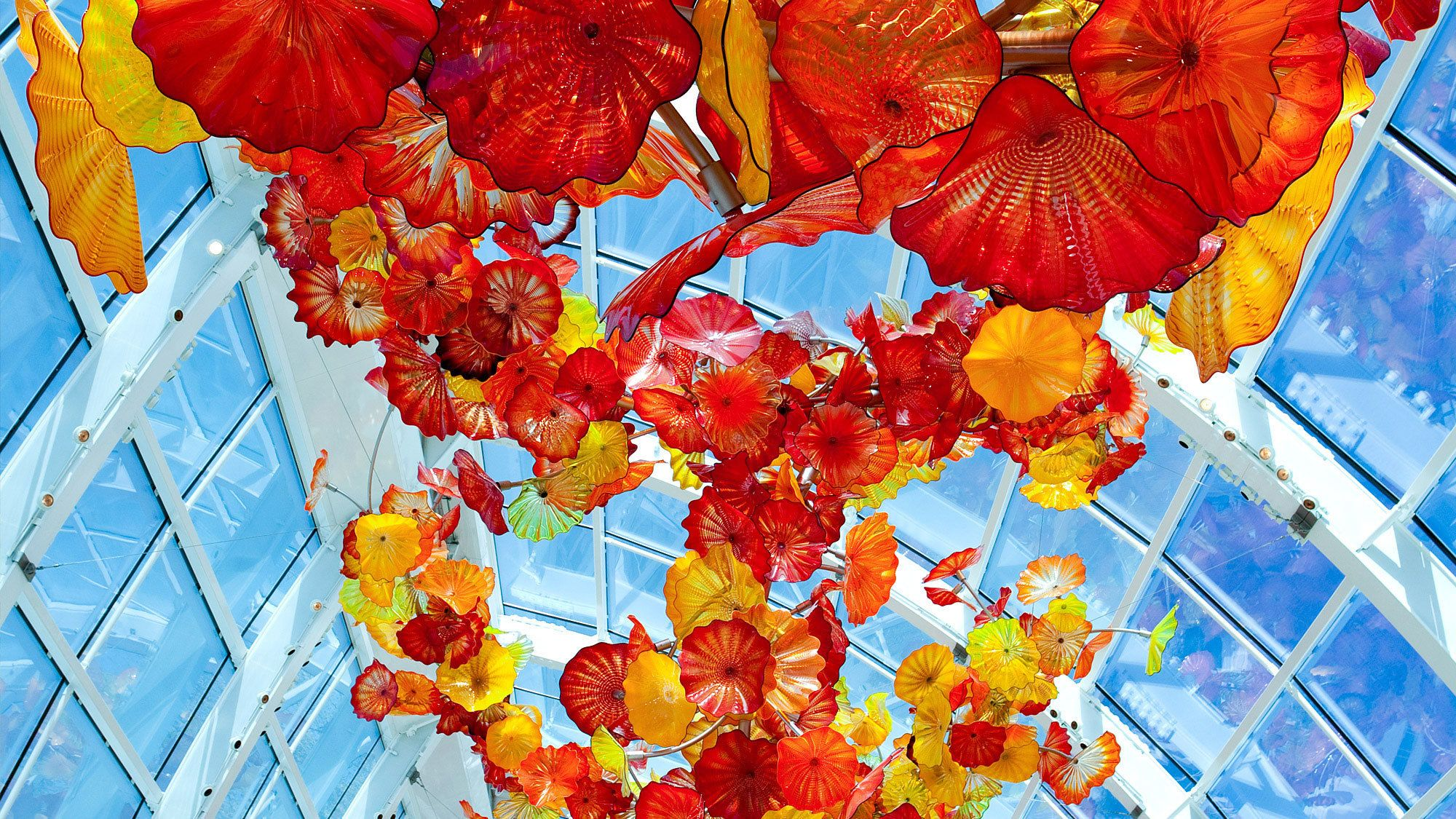 Color glass sculptures hanging from the ceiling in the Chihuly Garden and Glass in Seattle