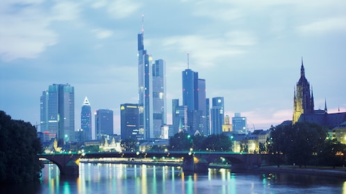 night view of city in Frankfurt