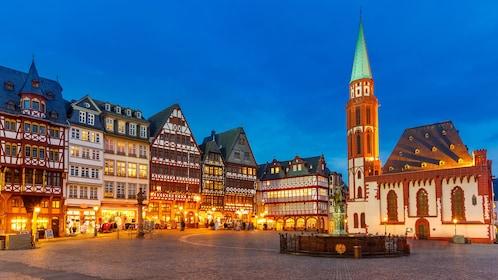 Night view of city square in Frankfurt