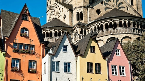 Colorful houses near the Great Saint Martin Church in Cologne