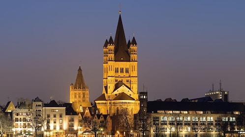 The Great Saint Martin Church at night in Cologne