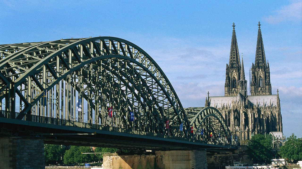 Crossing the bridge near the cathedral in Cologne