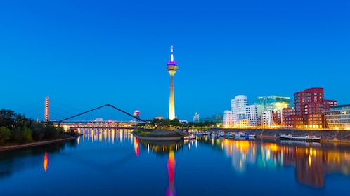 Well lit city at night in Dusseldorf