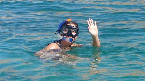 woman in snorkeling gear in Los Cabos