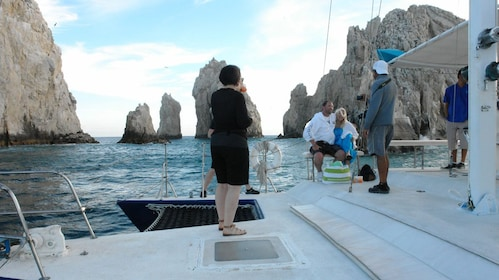 passengers on boat's deck in Los Cabos