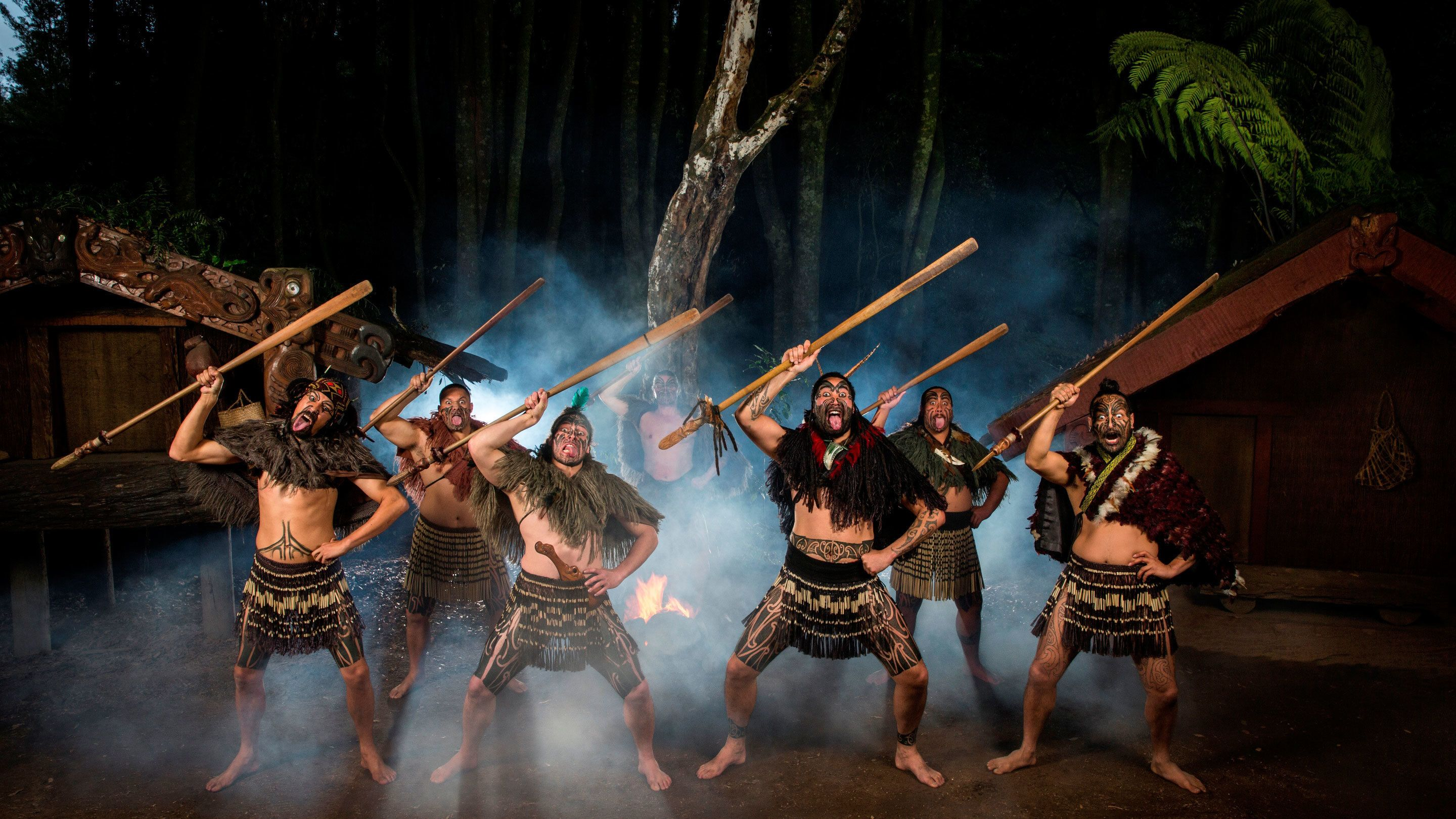 tribal men performing dance in New Zealand