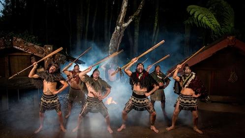 tribal men performing dance in New Zealand