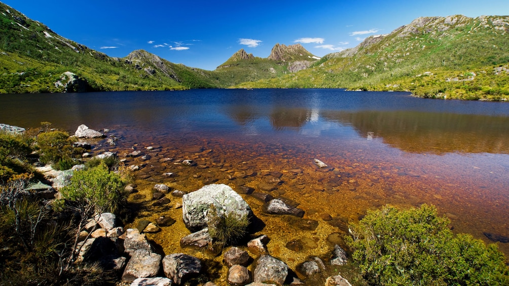 Show item 7 of 7. Dove Lake surrounded by green hills and Cradle Mountain in the background in Launceston