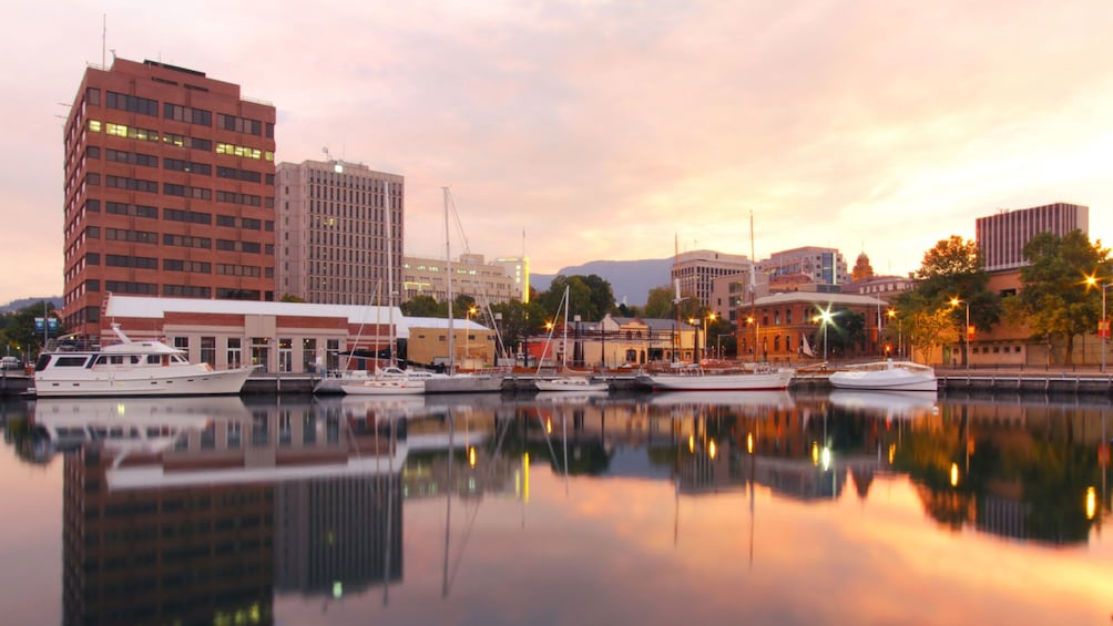 Beautiful sunset view of a doc in Hobart