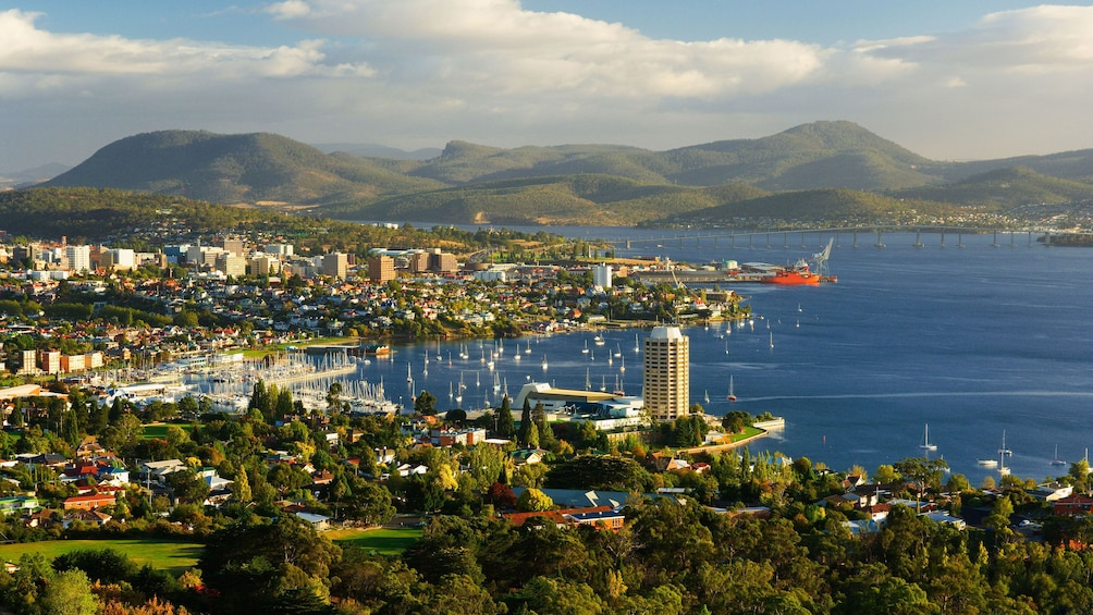 Aerial panoramic view of Hobart at sunset
