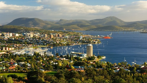Aerial panoramic view of Hobart at sunset