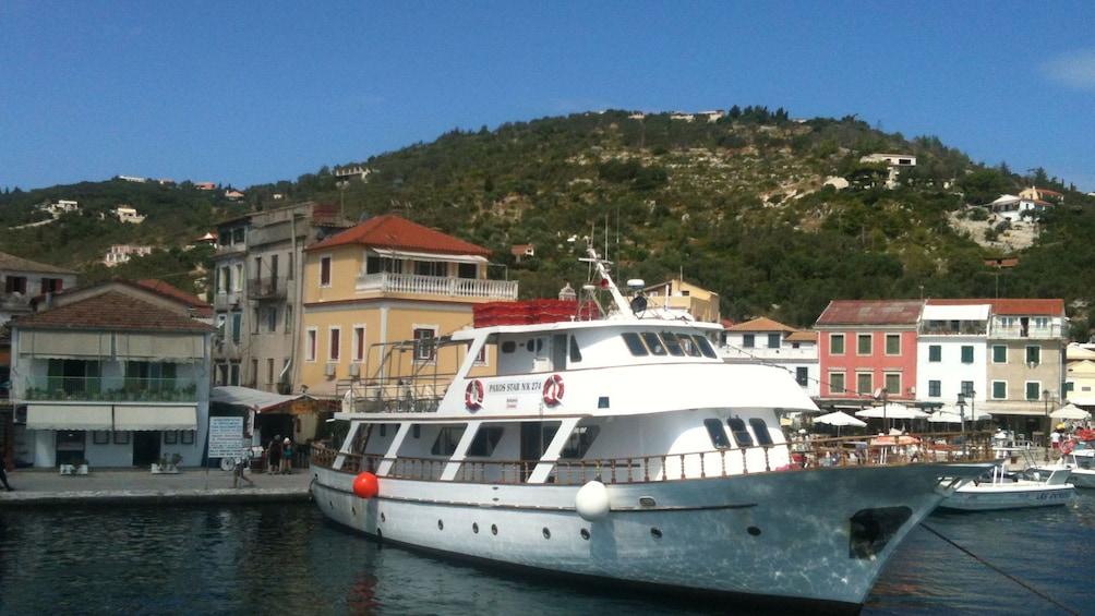Tour boat moored off Corfu Island