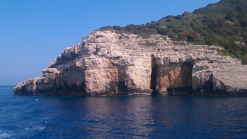 Rocky cliffs at the coast in Corfu