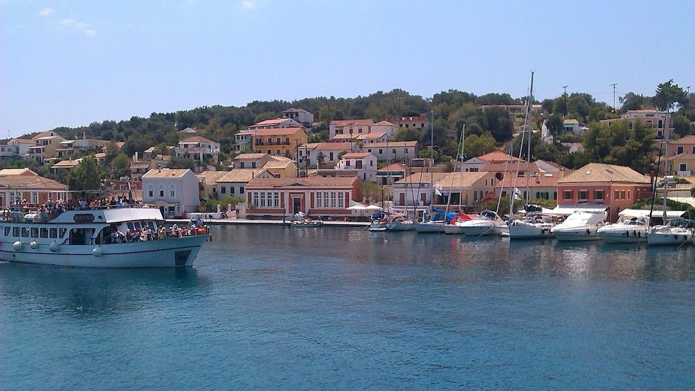 Crowded boat near the coast in Corfu