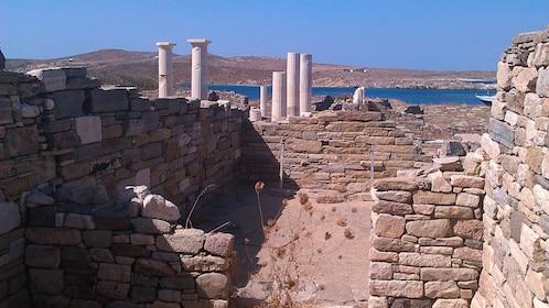View of ancient Delos Island ruins in Mykonos