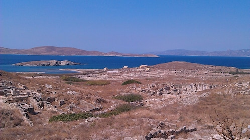 View of the land and water on the island of Mykonos